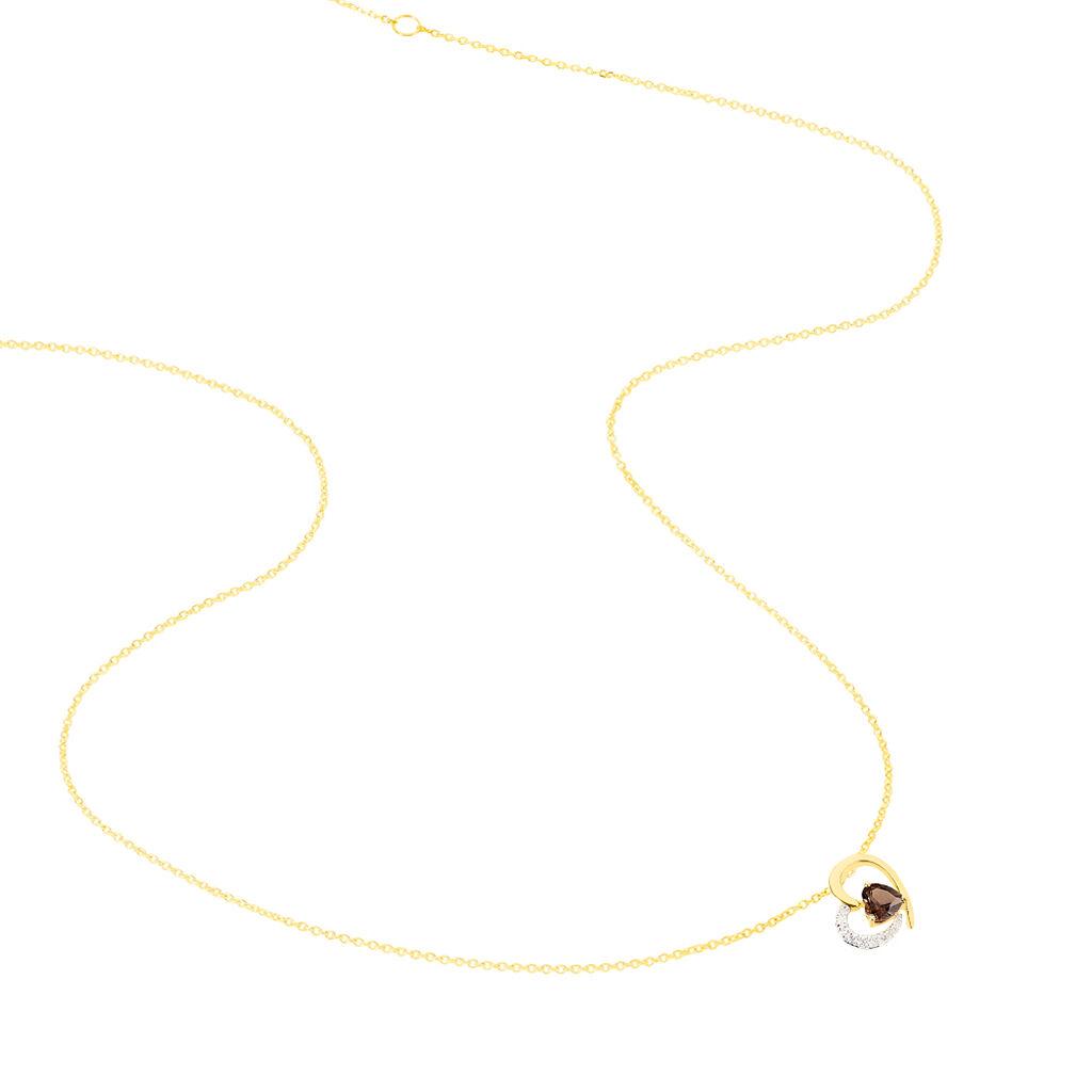 Collier Eliana Or Jaune Quartz Et Diamant - Colliers Coeur Femme | Histoire d'Or