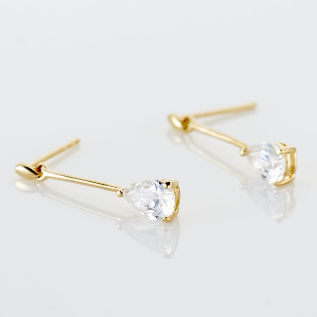 Boucles D'oreilles Pendantes Goutte Or Jaune Oxyde De Zirconium - Boucles d'oreilles pendantes Femme | Histoire d'Or
