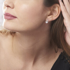 Boucles D'oreilles Puces Indian Drop Argent Blanc Oxyde De Zirconium - Boucles d'oreilles fantaisie Femme   Histoire d'Or