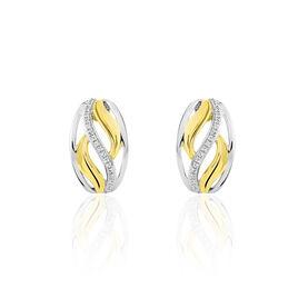 Boucles D'oreilles Pendantes Or Bicolore Diamant - Boucles d'oreilles créoles Femme | Histoire d'Or