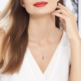 Collier Anne-therese Argent Blanc Ambre - Colliers fantaisie Femme   Histoire d'Or