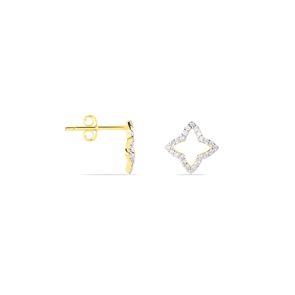 Boucles D'oreilles Pendantes Or Jaune Oxyde De Zirconium - Boucles d'Oreilles Croix Femme | Histoire d'Or