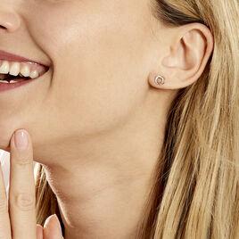 Boucles D'oreilles Puces Amaiur Or Tricolore Oxydes De Zirconium - Clous d'oreilles Femme   Histoire d'Or