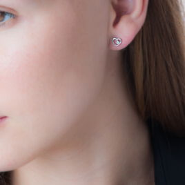 Boucles D'oreilles Puces Ashley Argent Blanc Oxyde De Zirconium - Boucles d'Oreilles Coeur Femme | Histoire d'Or