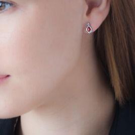Boucles D'oreilles Puces Angelika Or Blanc Rubis Et Diamant - Clous d'oreilles Femme | Histoire d'Or