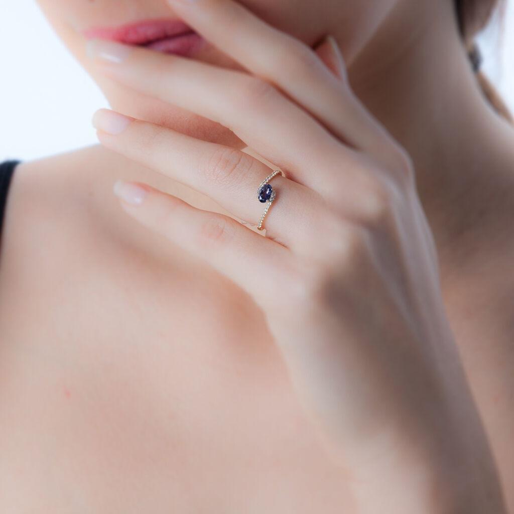 Bague Loriane Or Jaune Iolite Et Oxyde De Zirconium - Bagues solitaires Femme | Histoire d'Or