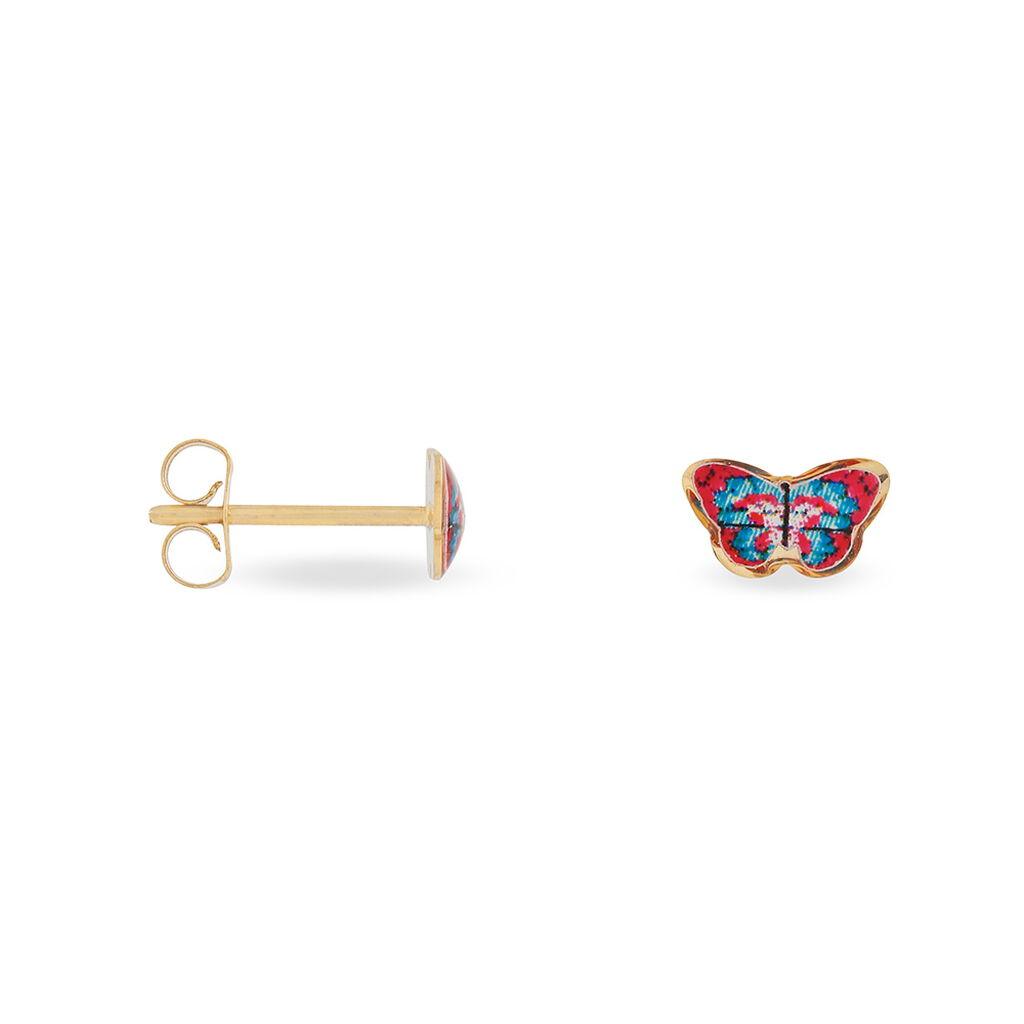 Boucles D'oreilles Puces Aurida Papillon Or Jaune - Boucles d'Oreilles Papillon Enfant | Histoire d'Or