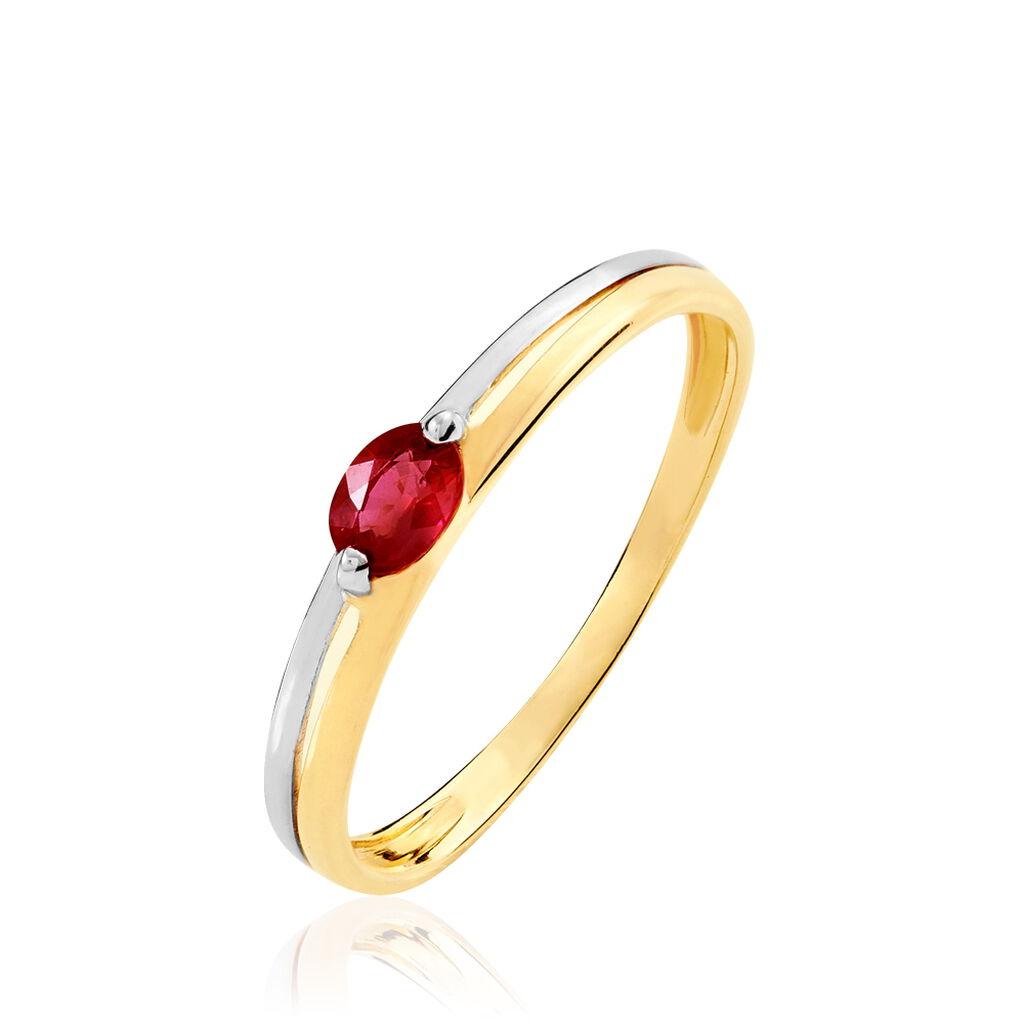 Bague Corabelle Or Bicolore Rubis - Bagues solitaires Femme   Histoire d'Or