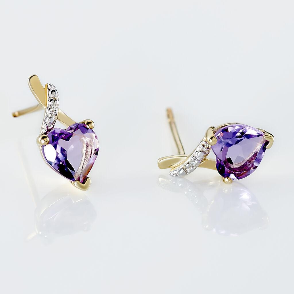 Boucles D'oreilles Pendantes Clothilde Or Jaune Amethyste Et Diamant - Boucles d'Oreilles Coeur Femme   Histoire d'Or