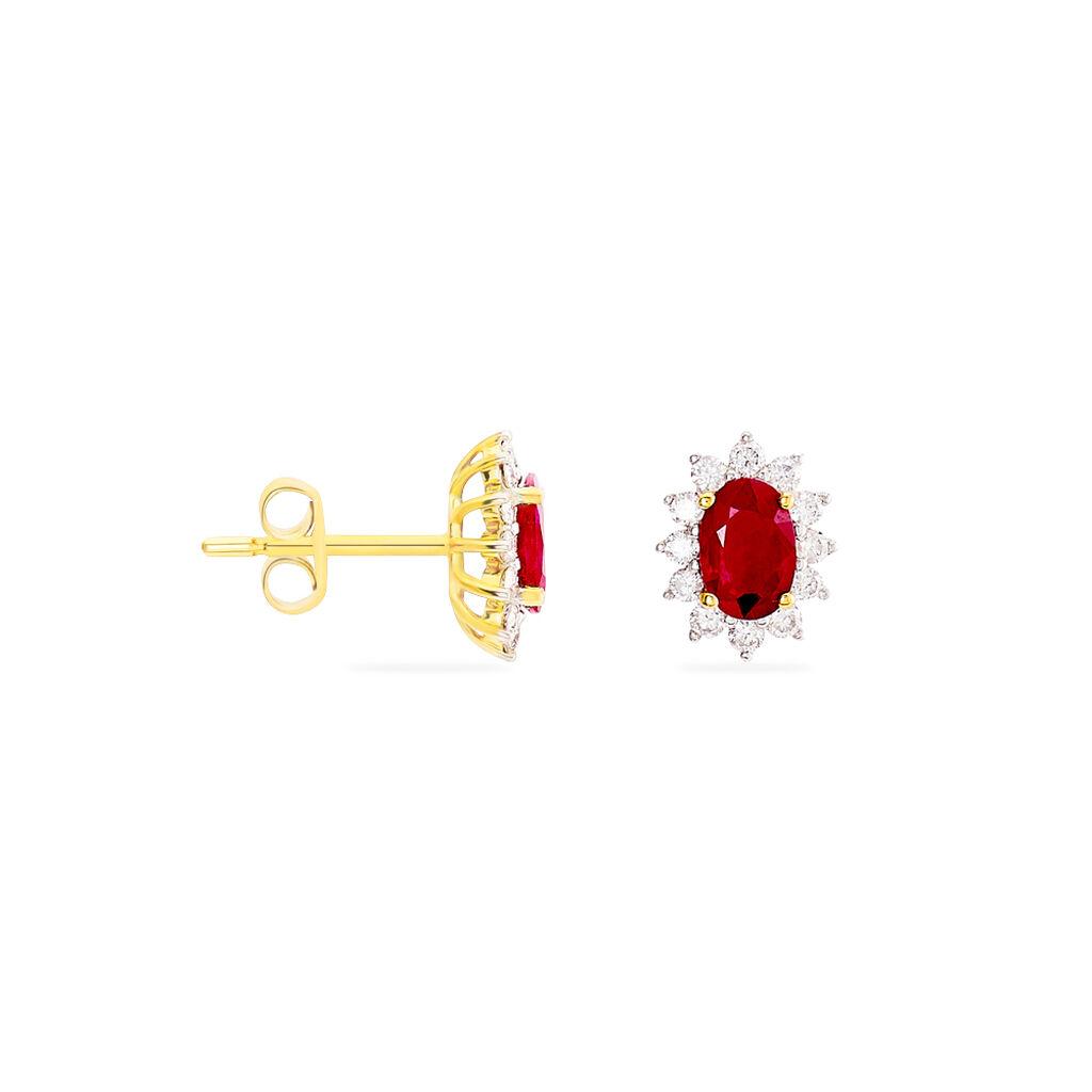 Boucles D'oreilles Puces Vladimir Or Jaune Diamant Et Rubis - Boucles d'Oreilles Plume Femme   Histoire d'Or