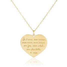 Collier Albizia Coeur Lettre Or Jaune - Colliers Coeur Femme   Histoire d'Or