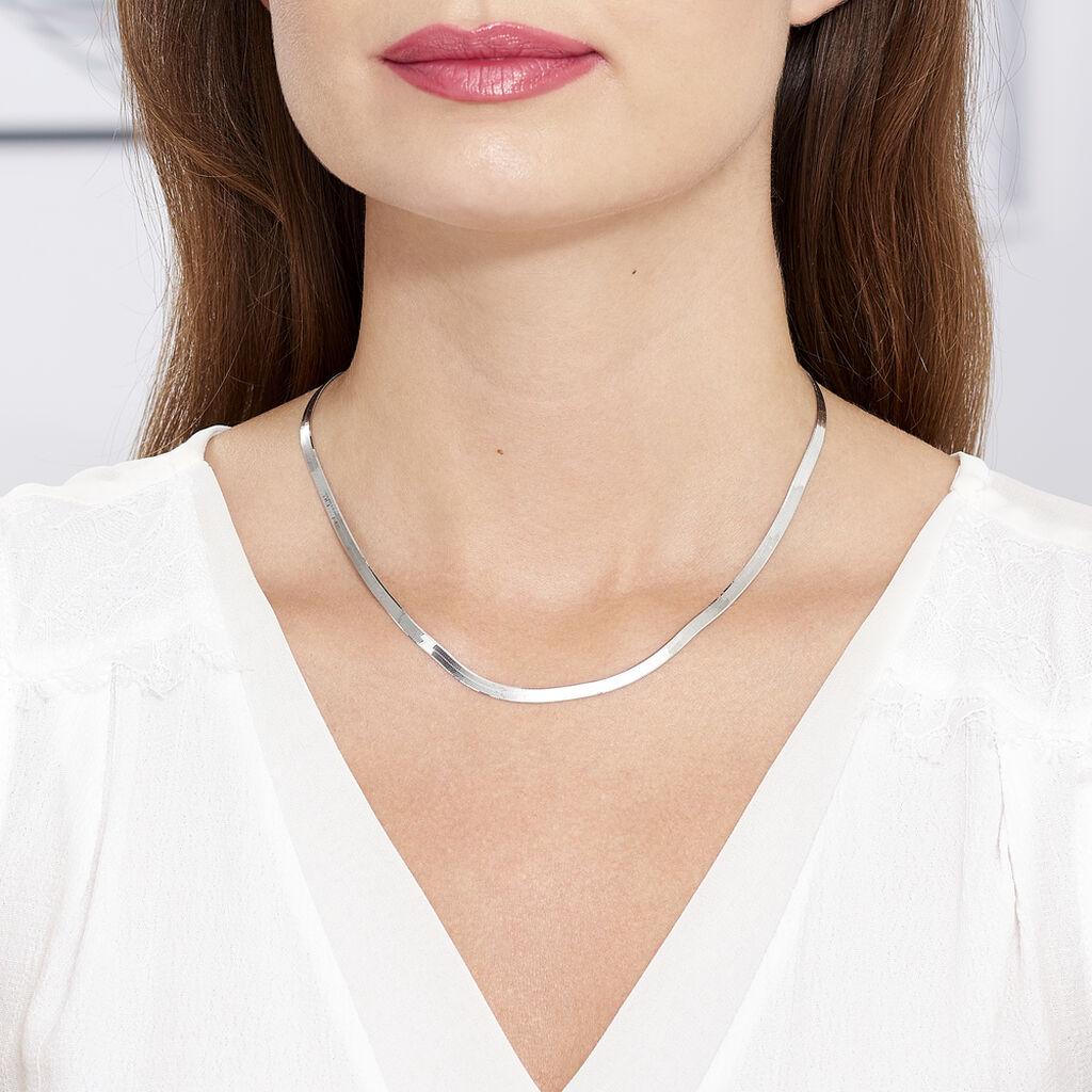 Collier Clemance Maille Miroir Argent Blanc - Chaines Femme | Histoire d'Or