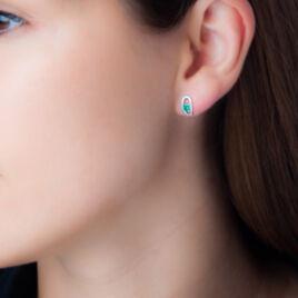 Boucles D'oreilles Puces Orlana Or Blanc Diamant Et Emeraude - Clous d'oreilles Femme | Histoire d'Or