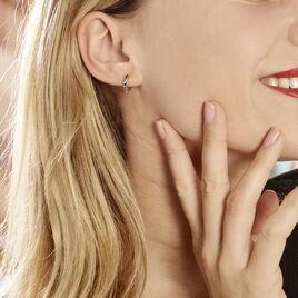 Creoles Blaisiane Argent Rhodie Blanc Oxydes De Zirconium - Boucles d'oreilles créoles Femme | Histoire d'Or