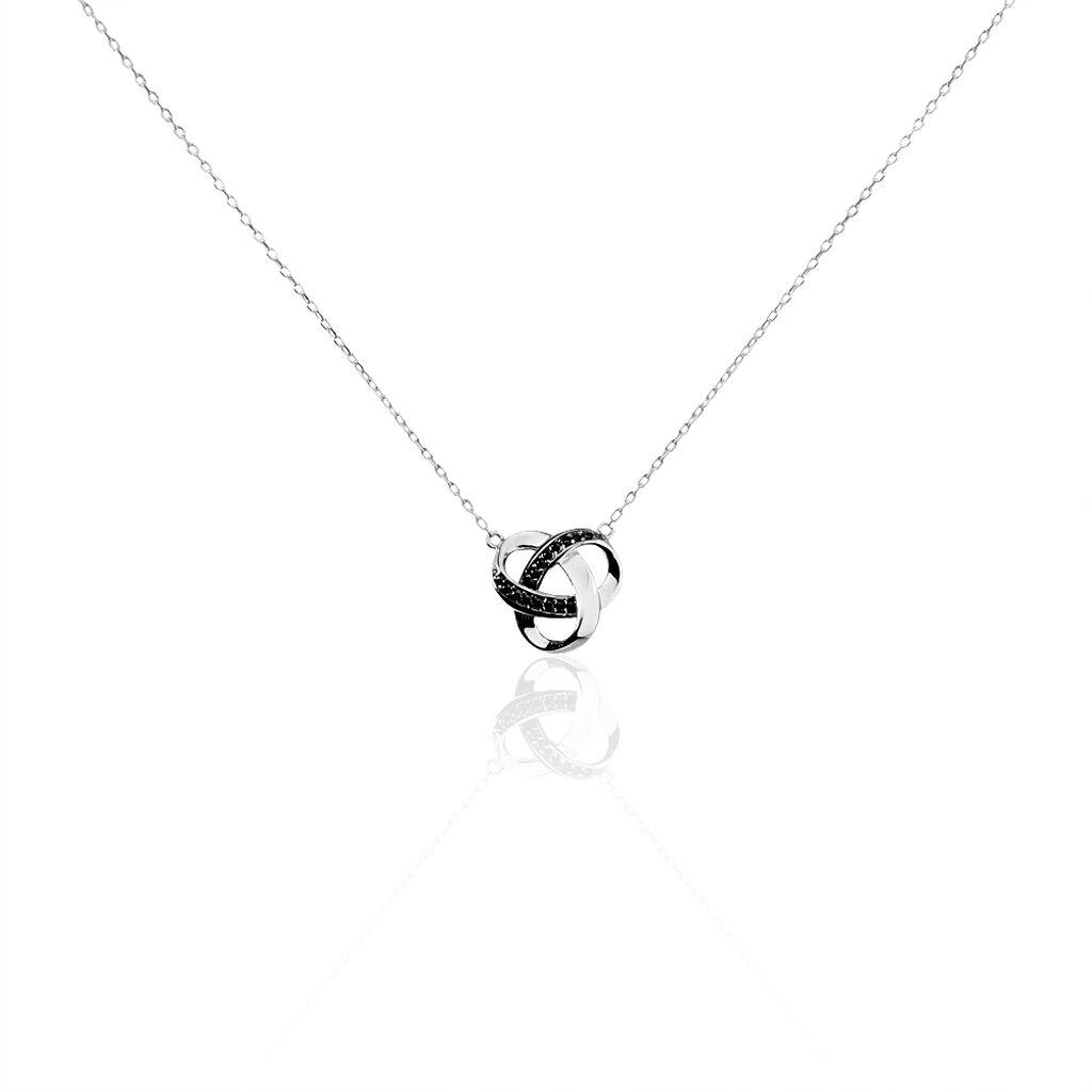Collier Melina Argent Blanc Oxyde De Zirconium - Colliers fantaisie Femme   Histoire d'Or