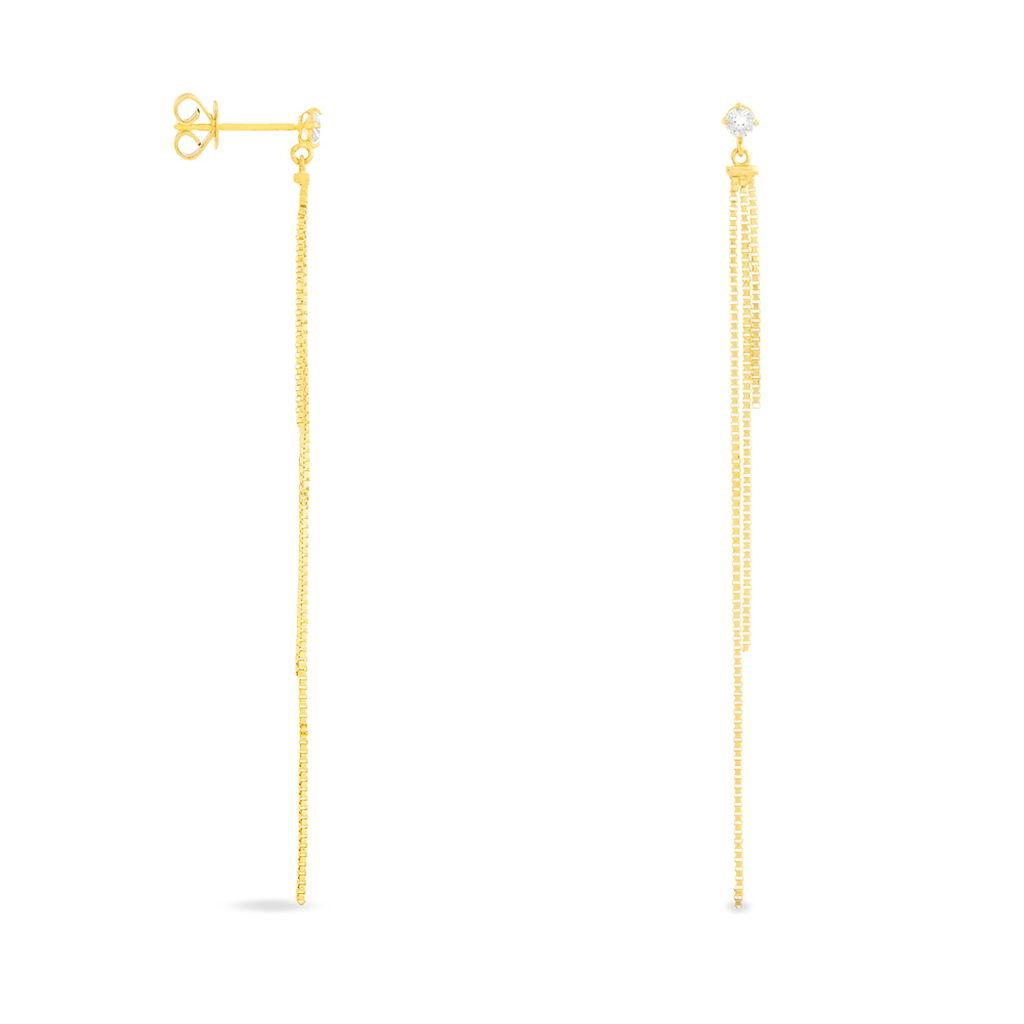 Boucles D'oreilles Pendantes Carrine Or Jaune Oxyde De Zirconium - Boucles d'oreilles pendantes Femme | Histoire d'Or