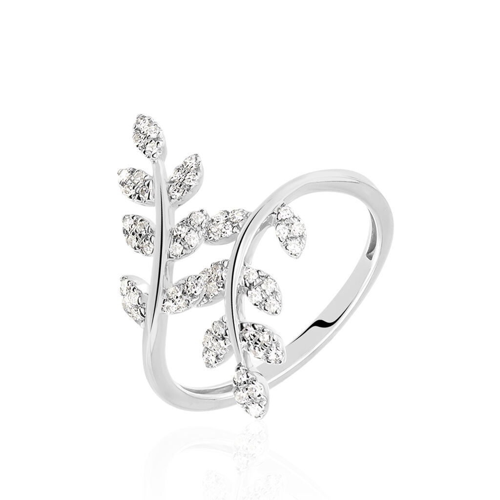 Bague Abbey Or Blanc Diamant - Bagues Plume Femme   Histoire d'Or