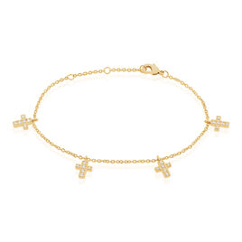 Bracelet Plaque Or Orina Pampilless Croix Oxydes De Zirconium - Bracelets Croix Femme | Histoire d'Or