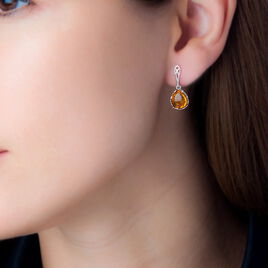 Boucles D'oreilles Pendantes Ceese Argent Blanc Ambre - Boucles d'oreilles fantaisie Femme | Histoire d'Or