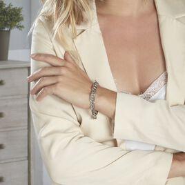 Bracelet Aidann Maille Marine Acier Blanc - Bracelets fantaisie Femme   Histoire d'Or