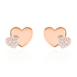 Boucles D'oreilles Puces Flamen Argent Rose Oxyde De Zirconium - Boucles d'Oreilles Coeur Femme   Histoire d'Or