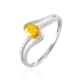 Bague Anja Or Blanc Citrine Et Diamant - Bagues avec pierre Femme   Histoire d'Or