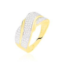Bague Bandeau Or Jaune Oxyde De Zirconium - Bagues avec pierre Femme   Histoire d'Or