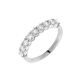 Demi Alliance Eloise Platine Blanc Diamant - Alliances Femme | Histoire d'Or