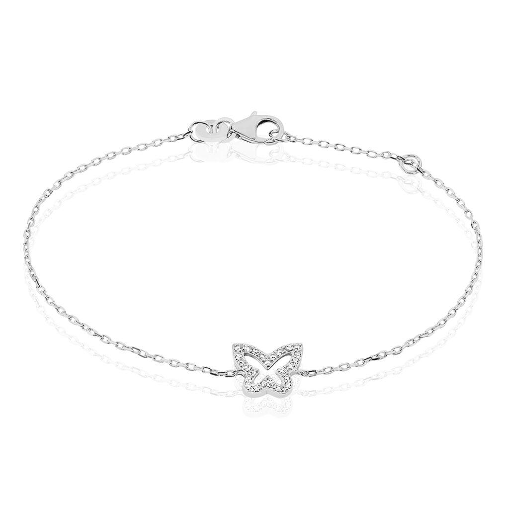 Bracelet Gladys Argent Blanc Oxyde De Zirconium - Bracelets Papillon Femme | Histoire d'Or