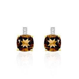 Boucles D'oreilles Puces Or Jaune Quartz Et Diamant - Boucles d'oreilles pendantes Femme | Histoire d'Or