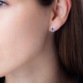 Boucles D'oreilles Puces Orlana Or Blanc Saphir Et Diamant - Clous d'oreilles Femme | Histoire d'Or