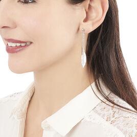 Boucles D'oreilles Argent Rhodie Euriell Plume - Boucles d'Oreilles Plume Femme | Histoire d'Or