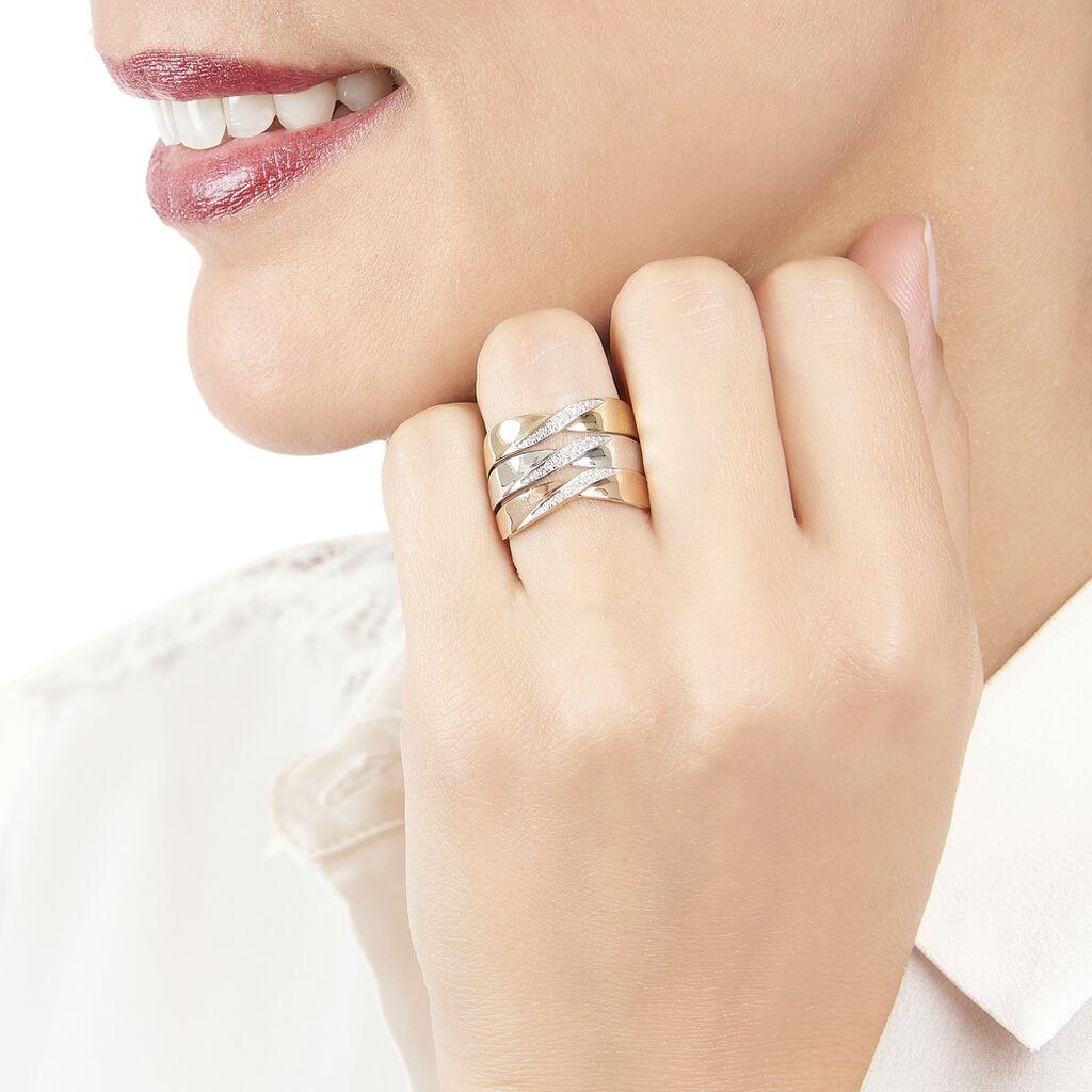 Bague Or Tricolore Et Diamants - Bagues avec pierre Femme   Histoire d'Or
