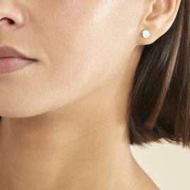 Boucles D'oreilles Puces Apoline Argent Blanc - Boucles d'oreilles fantaisie Femme   Histoire d'Or