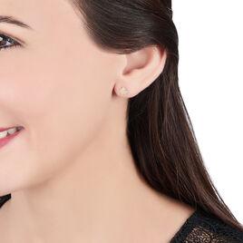 Boucles D'oreilles Puces Elioussa Lapin Or Jaune Oxyde De Zirconium - Clous d'oreilles Femme | Histoire d'Or