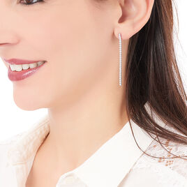 Boucles D'oreilles Pendantes Lou-anne Argent Blanc Oxyde De Zirconium - Boucles d'oreilles fantaisie Femme   Histoire d'Or