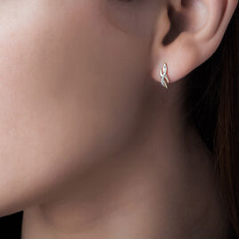 Boucles D'oreilles Puces Ester Or Jaune Diamant - Clous d'oreilles Femme | Histoire d'Or