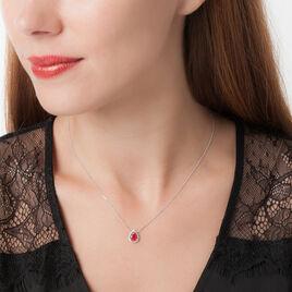 Collier Or Blanc Rubis Et Diamant - Bijoux Femme   Histoire d'Or