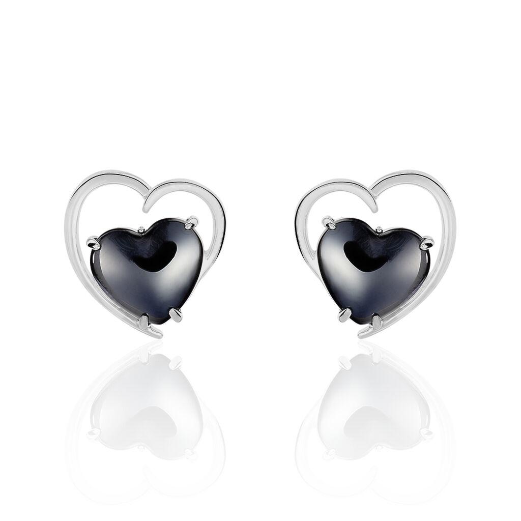 Boucles D'oreilles Pendantes Ramla Argent Blanc Céramique - Boucles d'Oreilles Coeur Femme   Histoire d'Or