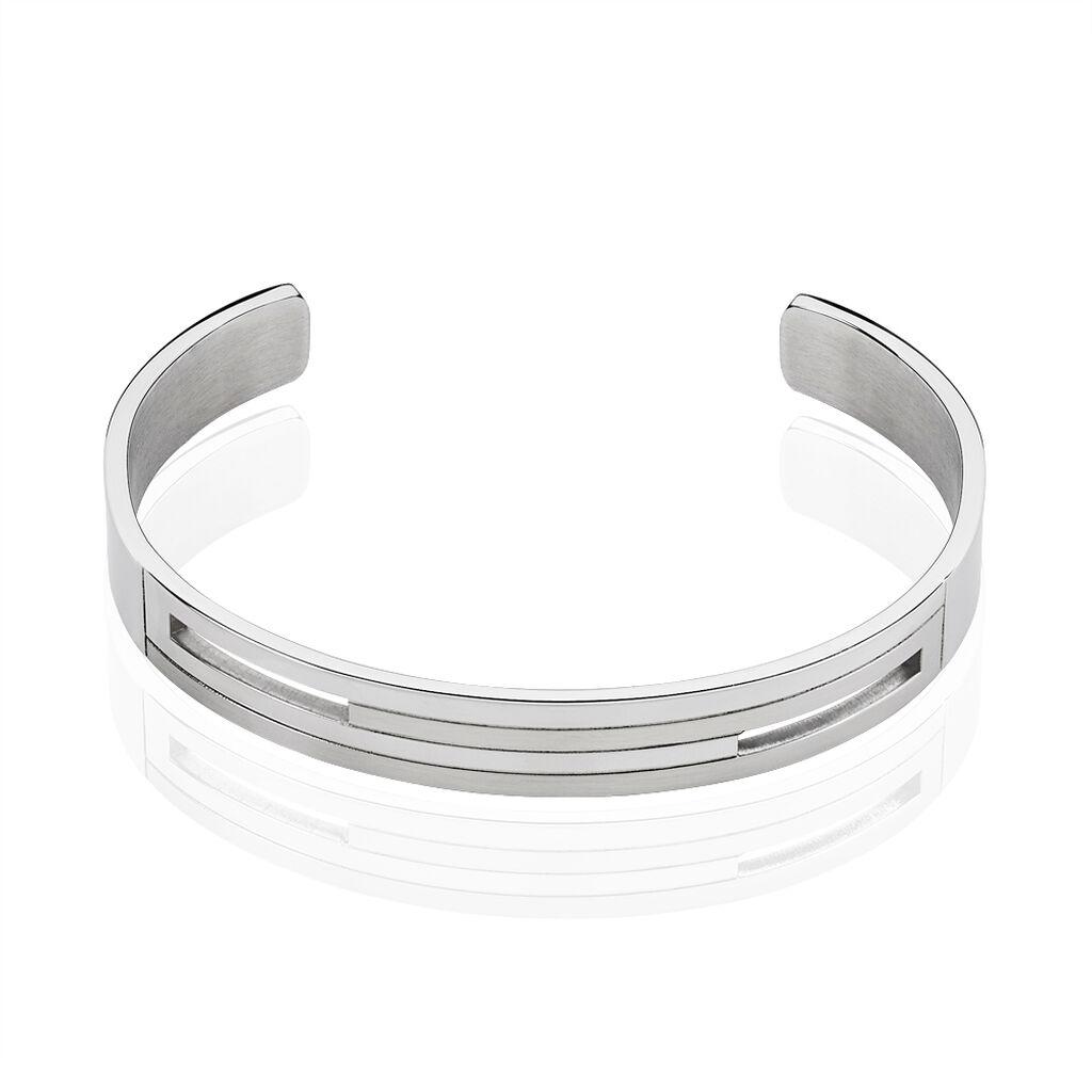 Bracelet Jonc Acier Blanc - Bracelets fantaisie Homme | Histoire d'Or