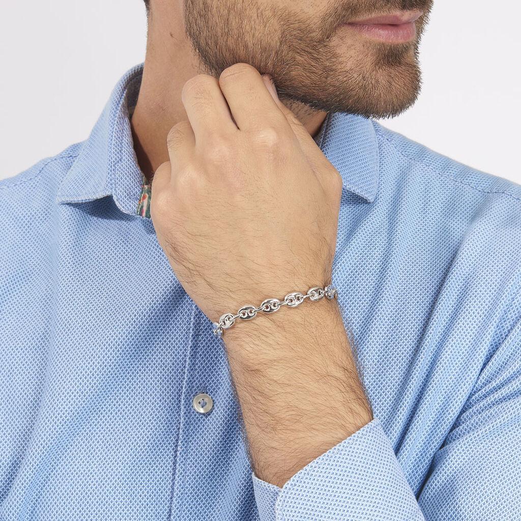Bracelet Carrus Maille Grain De Cafe Argent Blanc - Bracelets chaîne Homme   Histoire d'Or