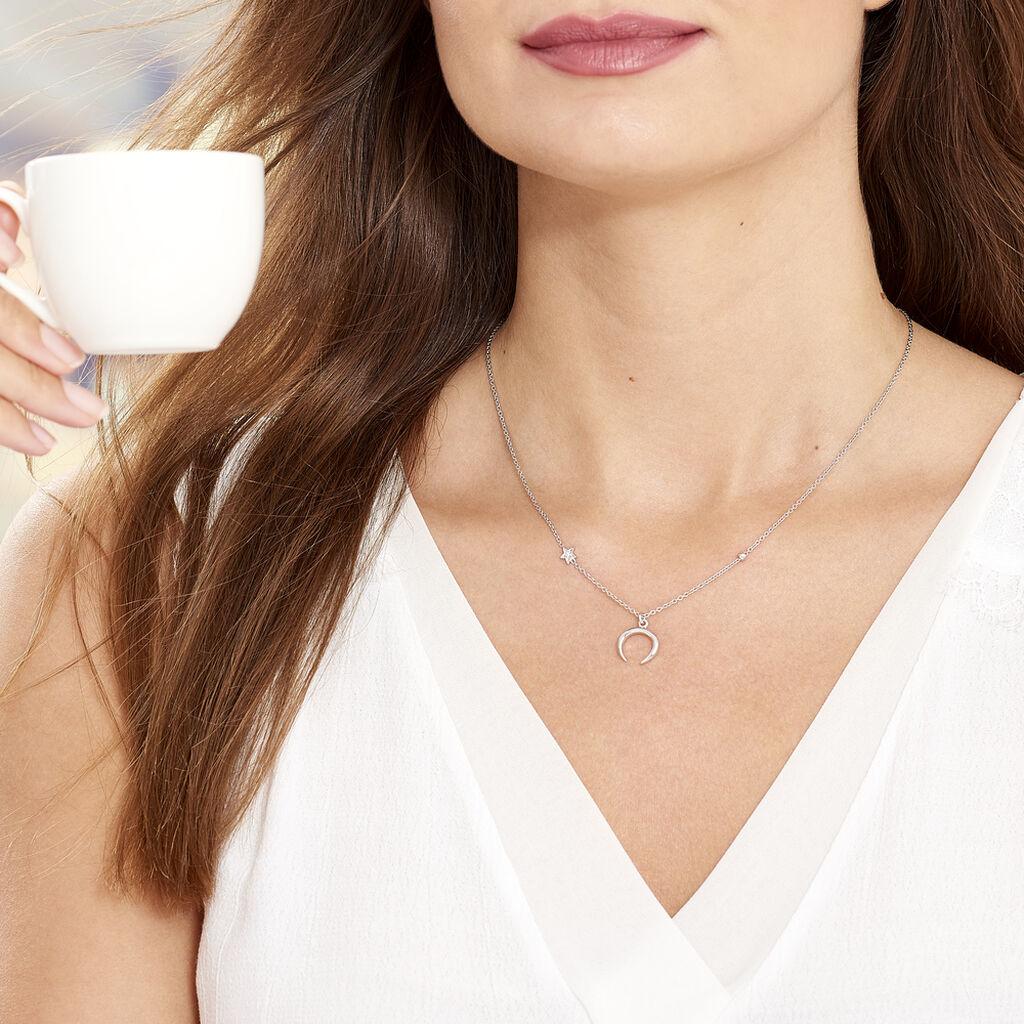 Collier Serenella Argent Blanc Oxyde De Zirconium - Colliers Etoile Femme   Histoire d'Or