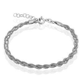 Bracelet Argent Rhodie Maille Coréenne - Bracelets chaîne Femme | Histoire d'Or
