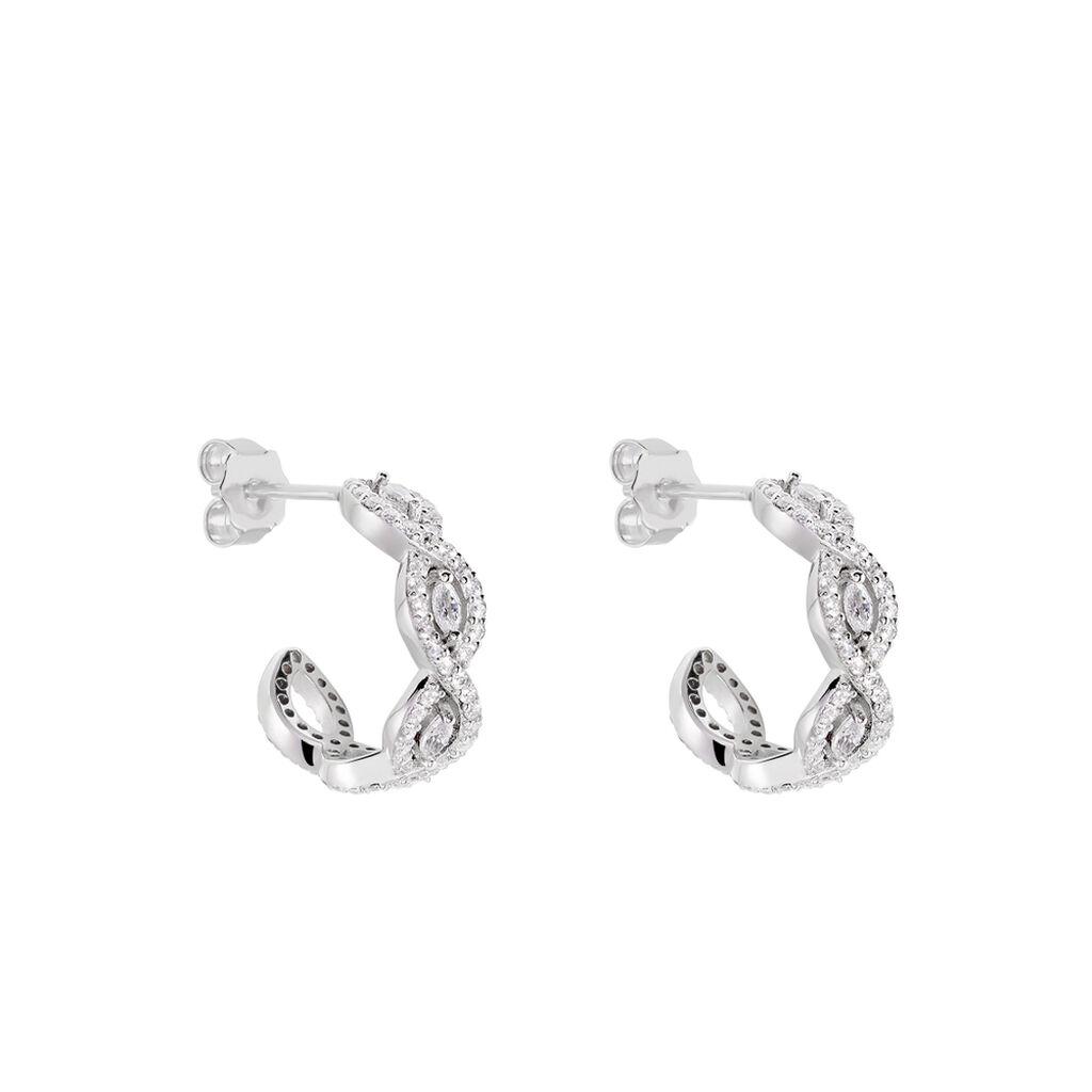 Créoles Elvera Rondes Argent Blanc Oxyde De Zirconium - Boucles d'oreilles créoles Femme | Histoire d'Or