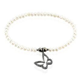 Bracelet Diariata Argent Noir Perle De Culture Et Oxyde De Zirconium - Bracelets Papillon Femme | Histoire d'Or