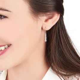 Boucles D'oreilles Pendantes Francilia Argent Blanc Oxyde De Zirconium - Boucles d'oreilles fantaisie Femme | Histoire d'Or