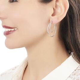 Créoles Marjorie Double Fil Lisse Et Diamanté Argent Blanc - Boucles d'oreilles créoles Femme | Histoire d'Or