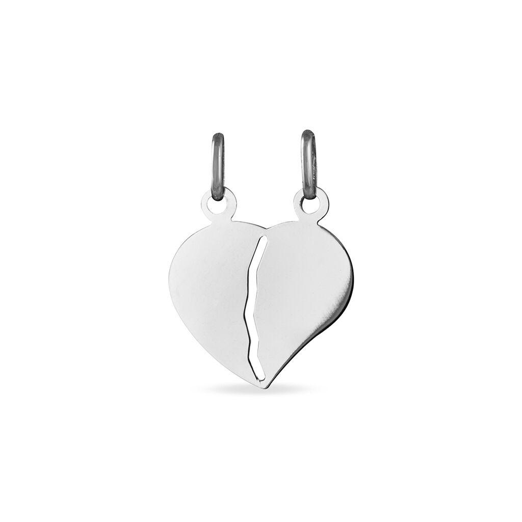 Pendentif Eudocie Coeur Secable Or Blanc - Pendentifs Coeur Unisexe   Histoire d'Or