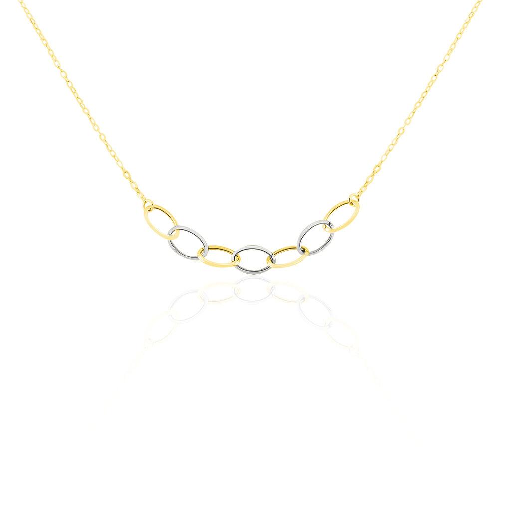 Collier Or Bicolore Lucette Chaine Forcat Or Jaune Et 7 Elements - Bijoux Femme | Histoire d'Or