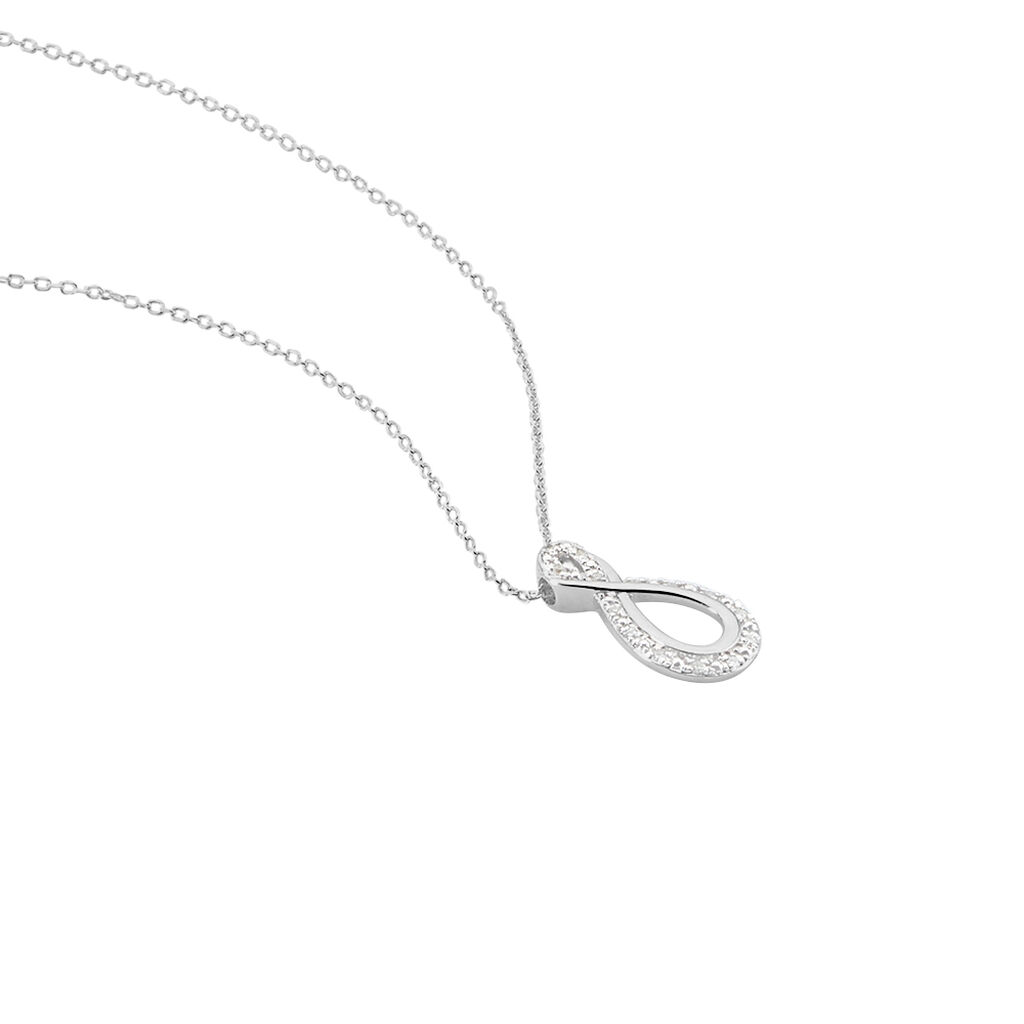 Collier Theanna Or Blanc Diamant - Colliers Infini Femme   Histoire d'Or